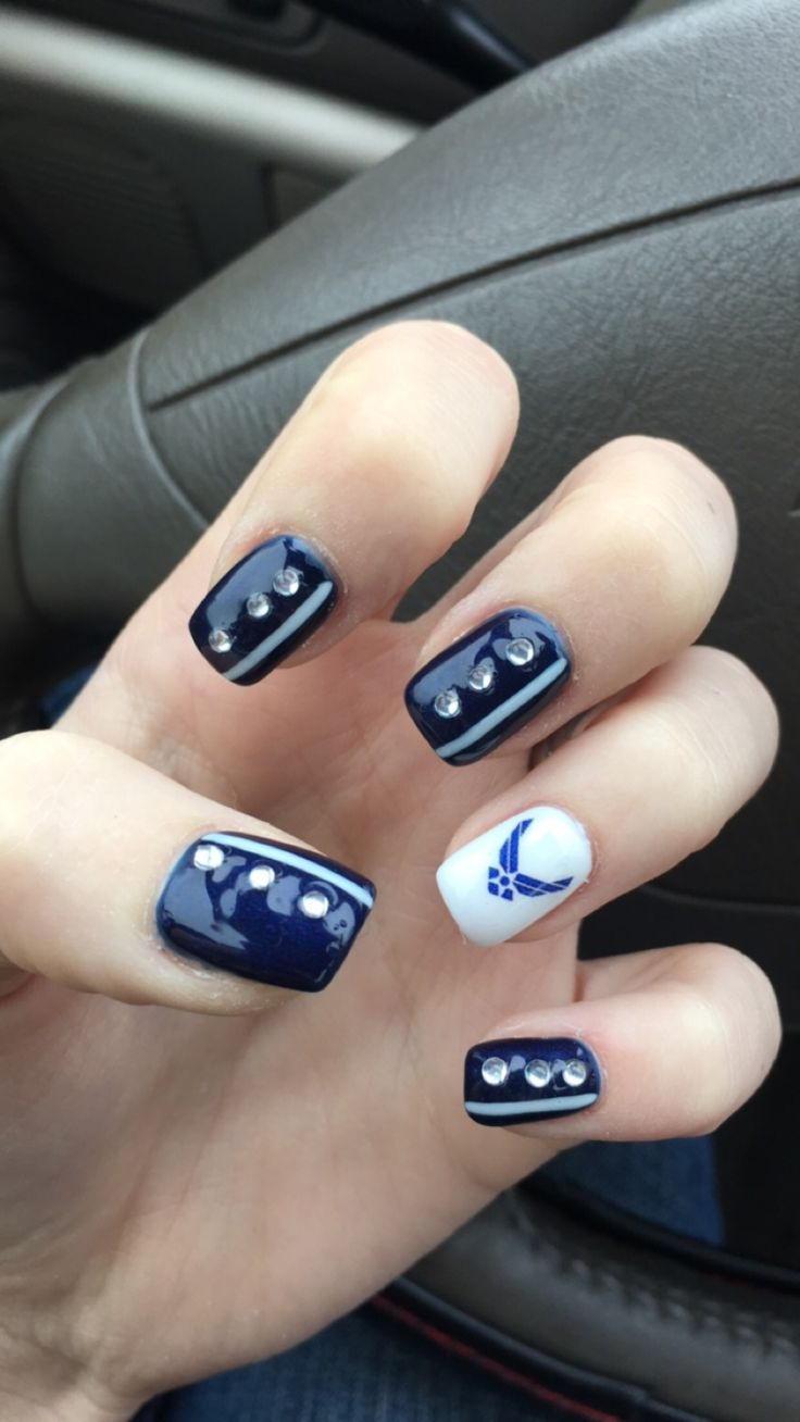 Got these done to support my husband  #airforce #nails