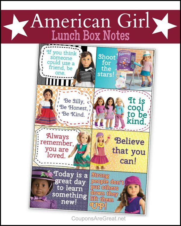 These American Girl printable notes are perfect for any occasion.  These are the cutest messages that are important for kids to remember.