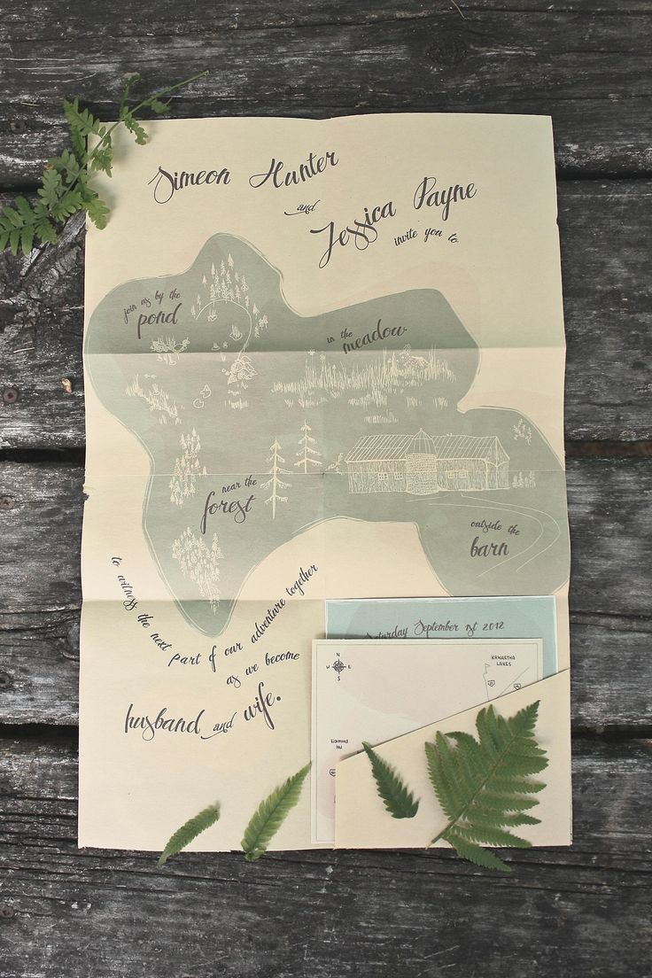 wedding invitations map%0A Clever illustrated map Jess   Sim u    s Illustrated NatureInspired Wedding  Invitations