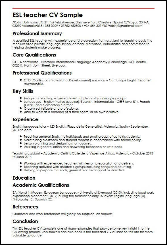 Cv Template Languages Cvtemplate Languages Template Teacher Cv Teacher Resume Jobs For Teachers