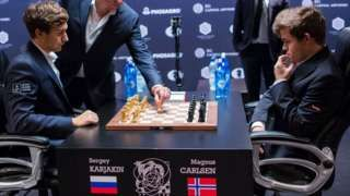 Image copyright                  AFP                  Image caption                                      The games were watched by about six million people around the world                                Magnus Carlsen of Norway has won the World Chess Championship for the third consecutive time after defeating challenger Sergey Karjakin of Russia. Carlsen, 25,