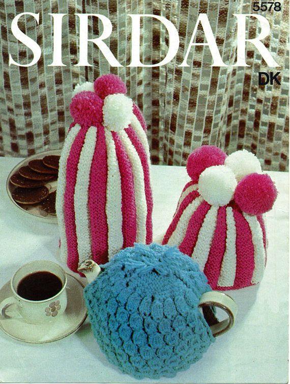 PDF Vintage Tea Cosy Knitting Pattern Kitsch 1970s Sirdar