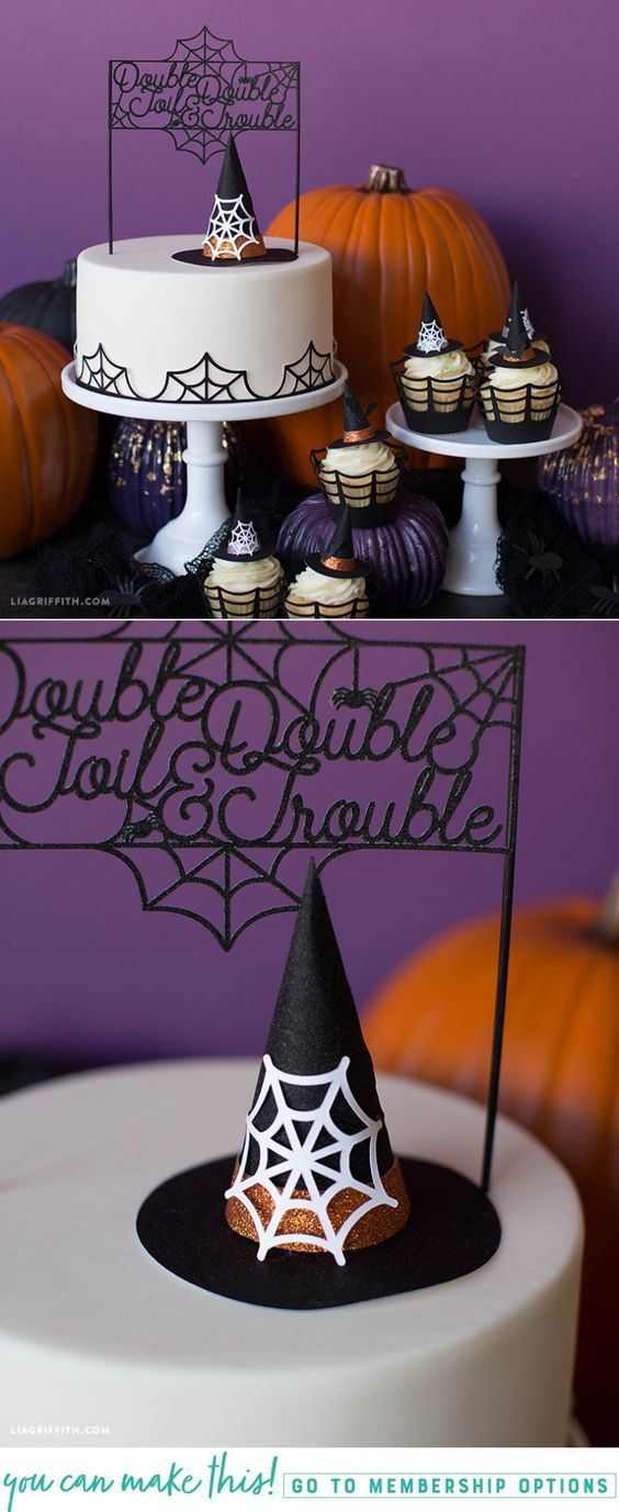 Halloween Cake Topper - Lia Griffith - www.liagriffith.com #diyinspiration #caketopper #caketoppers #paperart #papercraft #papercrafts #diyhalloween #madewithlia