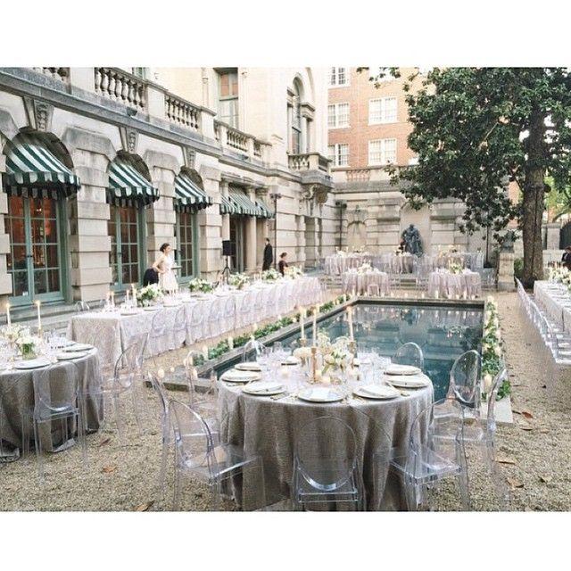 Ghost chairs are the big thing this season and I love it !! @strawberrymilkevents・・・Couldn't ask for a more perfect evening for an al fresco garden party/dinner reception! Huge congrats to Nesa + Joe // @nesaam #dcweddings #weddingplanner ((cc: @latavolalinen @dcreventrentals @rachzieg @ktmerry @calebjordanlee @ccbbcreative @bttrcrmbakeshop @welldunncatering)) #instaweddings #instabrides #weddingdetails #brides #bridalinspiration #weddinginspo #bodasmedellin #bodas #forksnbrides #casamento