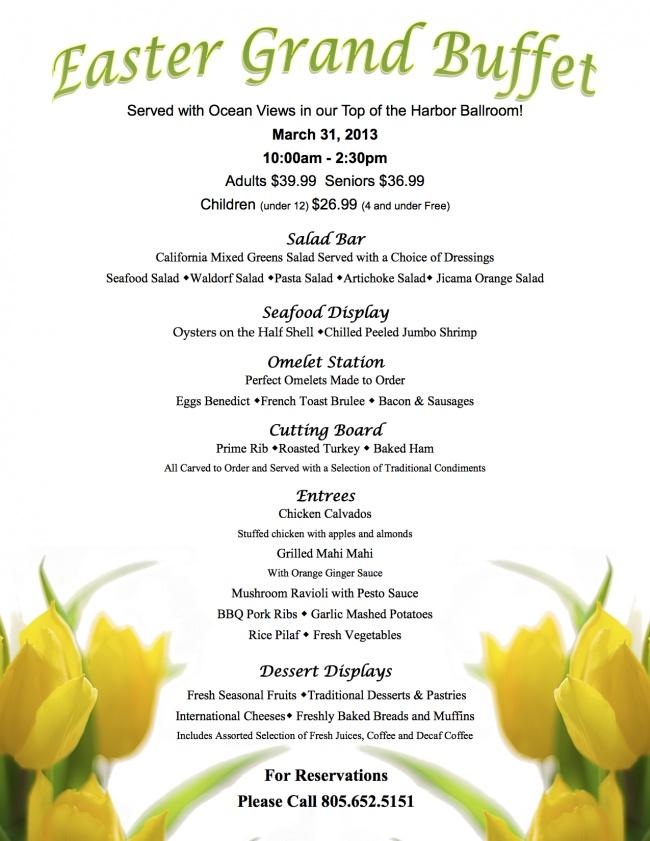 We 39 ve updated the menu crowne plaza ventura beach for Easter brunch restaurant menus