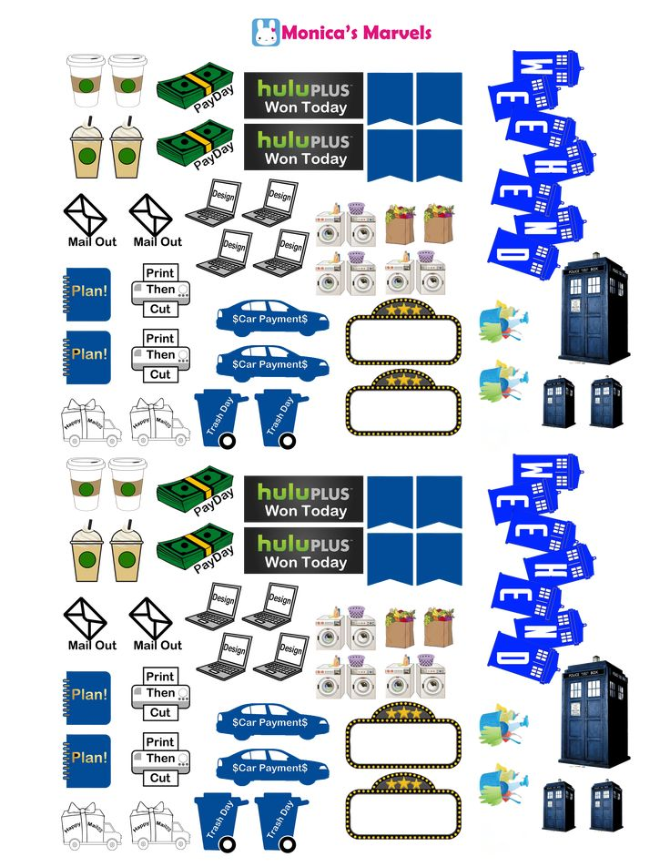 "Dr Who ""sticker kit"" FUNSHEET page2 Free THP (the happy planner by MAMBI) sticker. Free printable sticker layout may be subject to copyright not intended for retail; personal use only"
