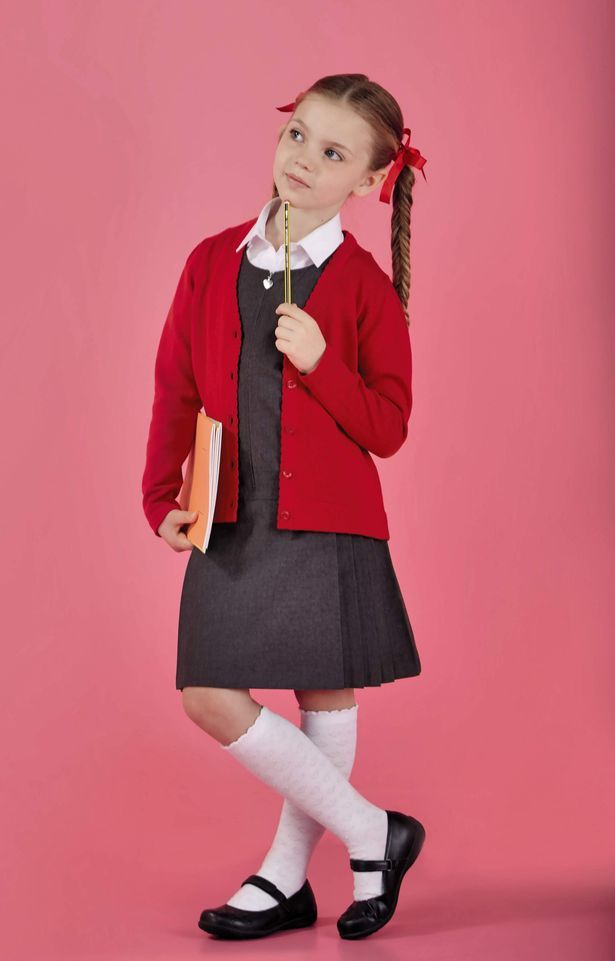 Aldi back to school range. Girls' 2 pack knitted cardigan £5.49, 2 pack pinafore £5.99, shirt £1.99, 5 pack knee high socks £3.49, scuff resistant school shoes £6.99