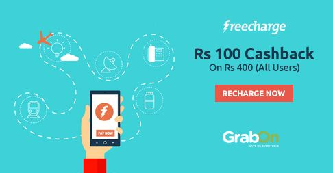 Paying Month-end Bills? Did You Check #FreeCharge? Get Rs 100 #Cashback On Rs 400. http://www.grabon.in/freecharge-coupons/