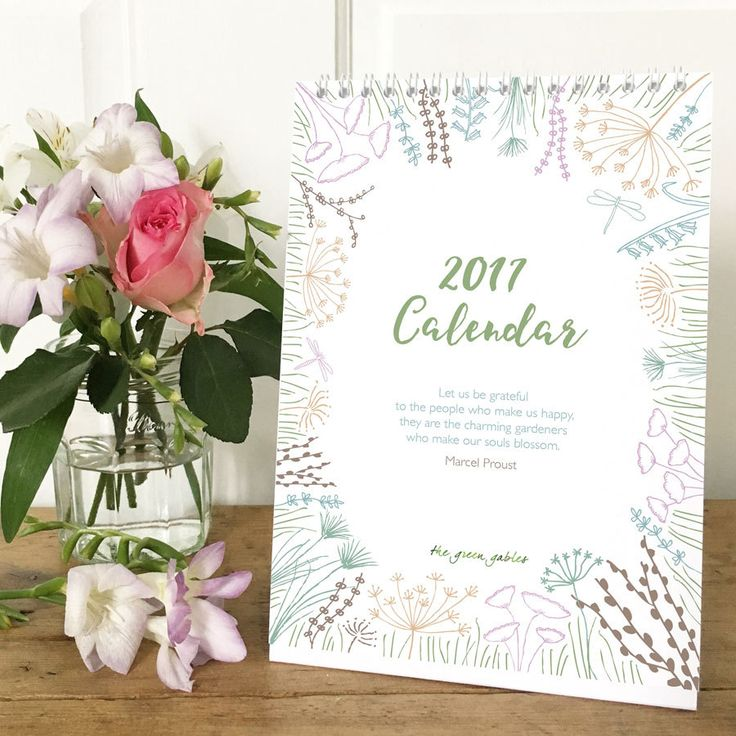 *This calendar is in my Sale and reduced from £7.00*  Bring a smile to your face every time you look at your botanical desktop 2017 calendar!  Each month features a quotation to uplift and inspire you as well as my hand drawn illustrations. Plus each month features three fun, notable dates so you wont miss celebrations such as the International Day of Happiness, Bake Cookies Day, Embrace Your Geekness Day, and Love Your Pet Day!  The pages are wiro bound with a strut stand so the calendar…