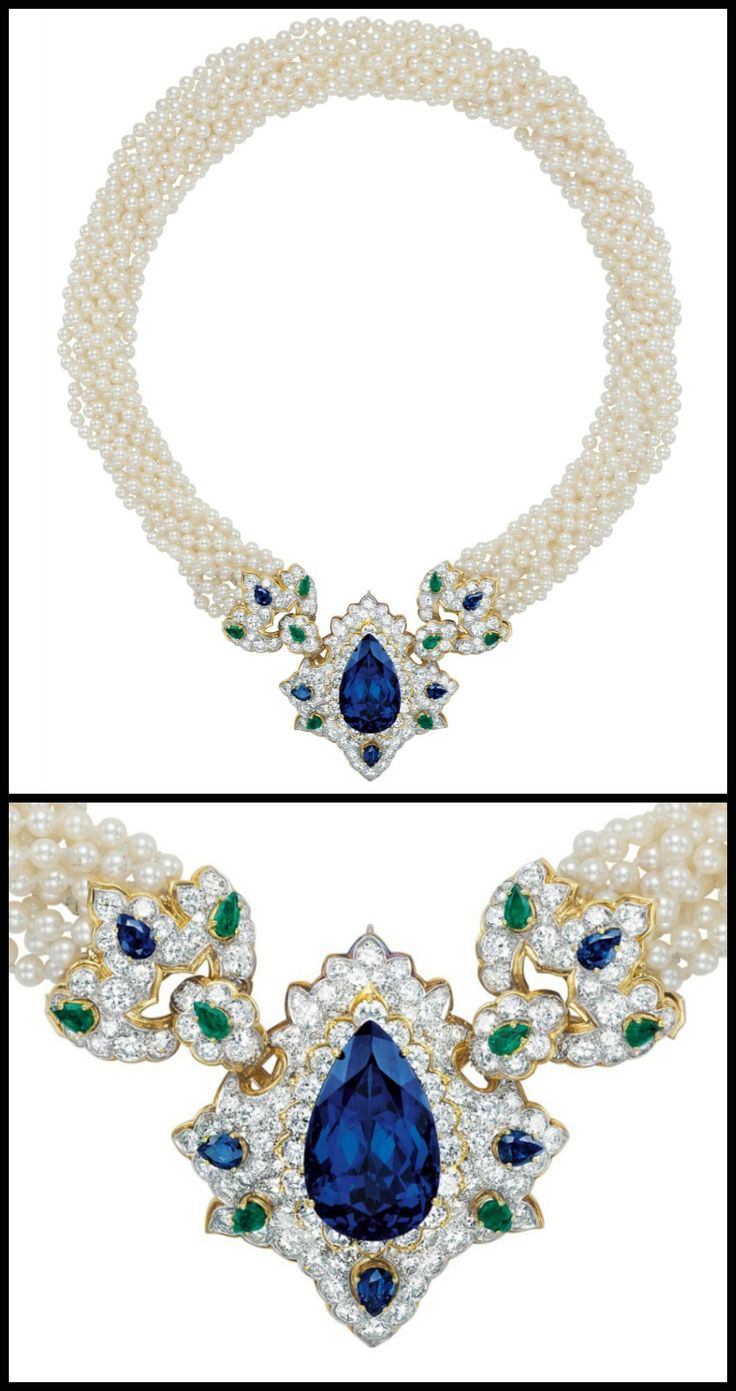 This Magnificent Tanzanite, Emerald, Sapphire, Pearl, And Diamond Necklace  With Pearls Is
