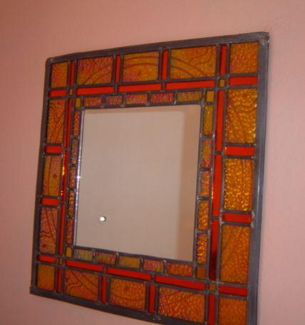 Yellow Iridescent Mirror With Sandblasted Sun Design 35x35cm Decorative Stainedgl