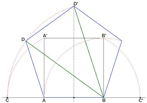 """The Golden Ratio in the pentagon - The pentagon is the polygon that naturally contains the Golden Ratio. Quoting Robert Lawlor [1] """"the pentagon [is] the symbol of life, with its fivefold symmetry which appears only in living organisms"""". The pentagon could actually be defined as the regular polygon of five sides whose diagonals are in a Golden Ratio with its sides. This provides a direct method of building a pentagon as we show in the following picture:"""