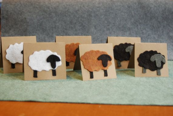 Handmade Felt Sheep Cards Pack Of 6 Soft To Touch greeting Cards Christmas Cards - Hmmmmmm....