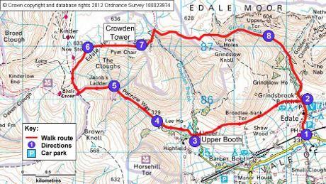 Edale - Kinder Scout moorland walk map, Derbyshire