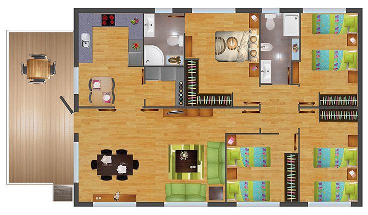 Planos de casas madera 3 dormitorios buscar con google - Casas de madera planos ...
