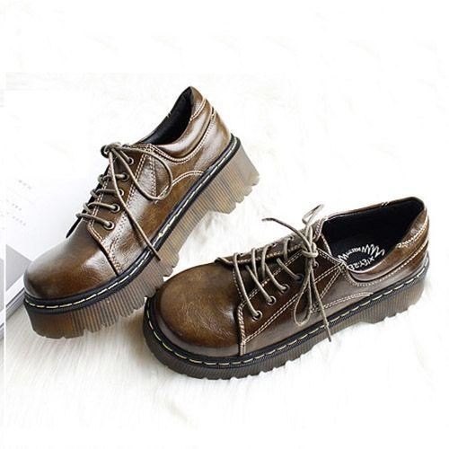 42.80$  Buy here  - Japan street style fashion round toe women thick sole platform Work oxford shoes khaki
