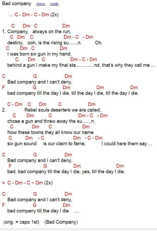 Bad Company Chords And Lyrics For Ukulele In C In 2020 Lyrics