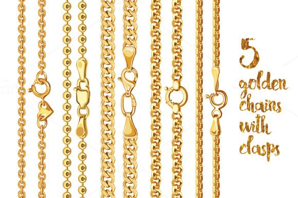 5 golden chains with clasps by Ann-zabella on @creativemarket