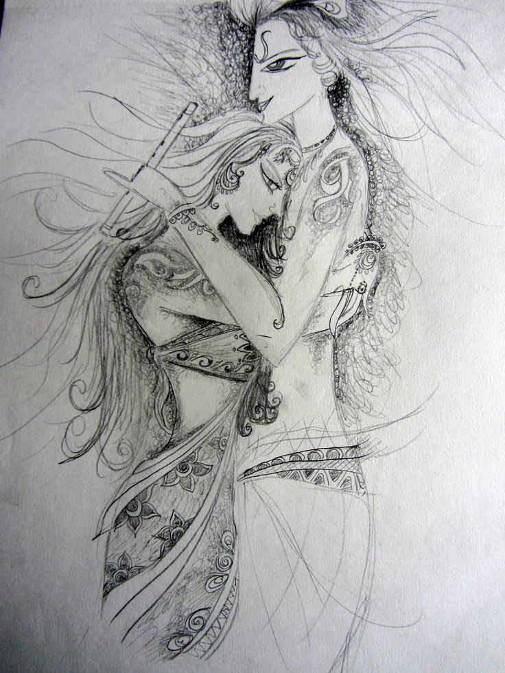 Krishna-radha | Random Sketch | Pinterest
