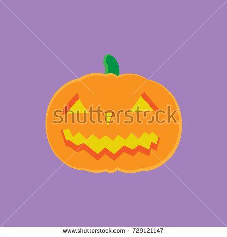 Halloween - Isolated Jack O' Lantern Vector - Light Purple Background (Fully Editable)