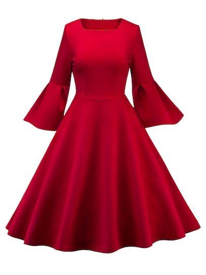 61b8daa2007 50s Flounce Sleeve Flare Dress [dress181109054] - $48.00 : moonbaye.com