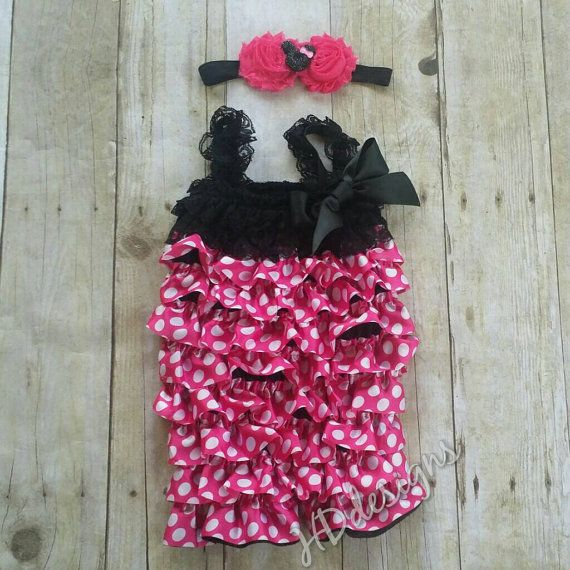 Pink polka dot satin and lace petti romper by HDHomemadeDesigns
