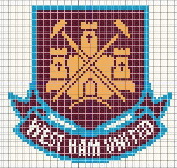 Buzy Bobbins: West Ham United logo - Football themed cross stitch design