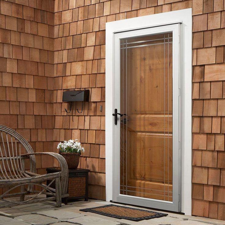 Andersen 36 in. x 80 in. 3000 Series White Left-Hand Fullview Etched Glass Storm Door with Oil-Rubbed Bronze Hardware