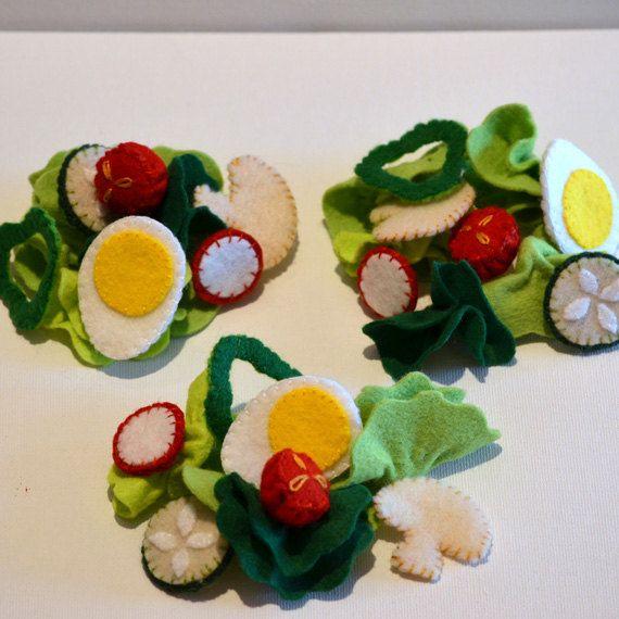 Felt Food Large Green Salad Children's Play Food. $42.00, via Etsy.