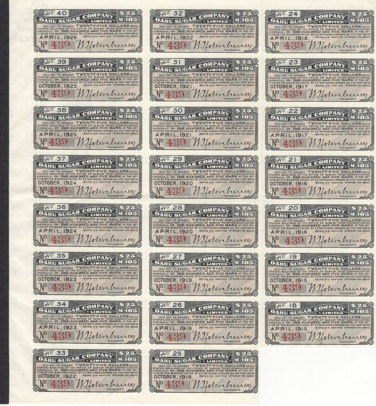 Rare Mint Sheet of 1915-1926 Hawaii Oahu Sugar Stock Coupons, Nos 18-40