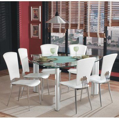 imports tracy 7 piece dining set triangular glass top dining table
