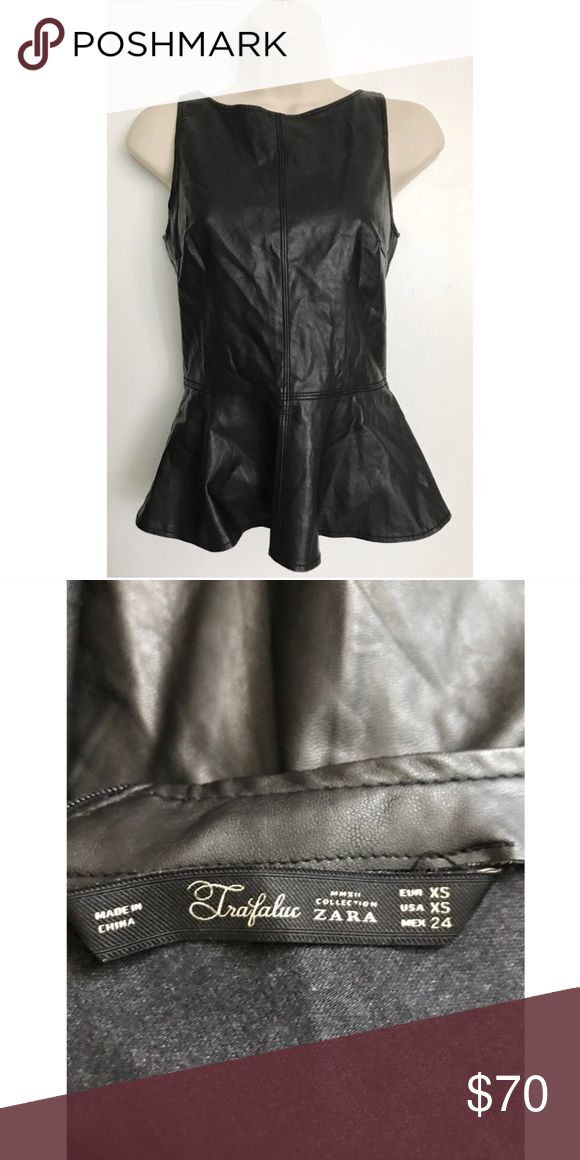 Zara Faux Leather Peplum Top XS Zara Tops