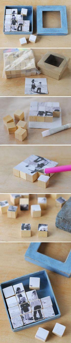 Bastelideen für DIY Geschenke zu Weihnachten, Würfel Puzzle Spiel selber machen mit Foto