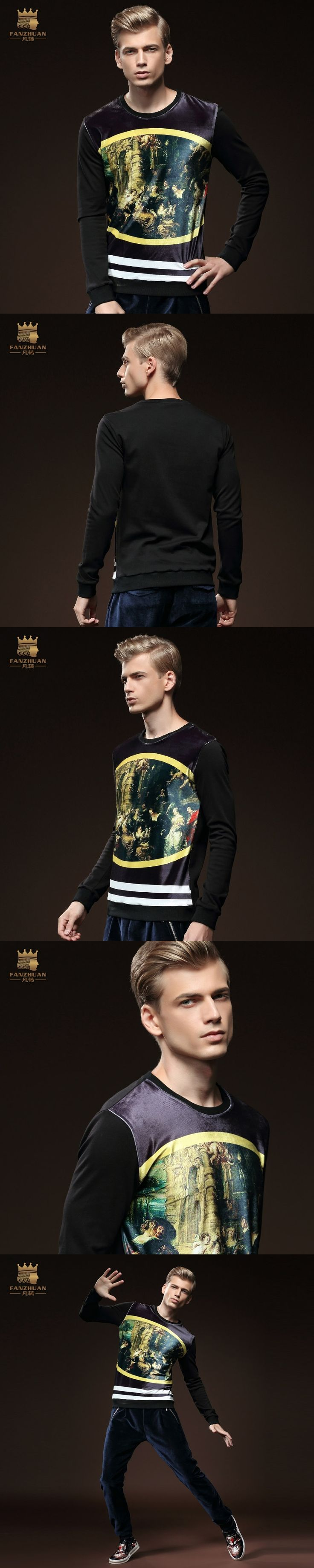 Free Shipping New Male fashion Men casual O neck long-sleeved winter European American painting long t-shirt shirt 5066 loosen
