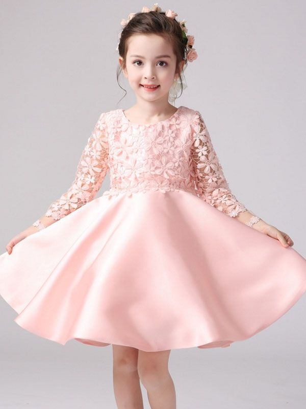 3434b1ed8 Hollow Long Sleeve Exquisite Lace Flower Bowknot Girl's Princess Dress with  Free Shipping | jollyhers
