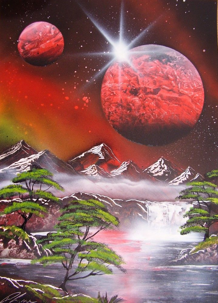 Red planet spacepainting, spraypainting art - Ivan Perončík