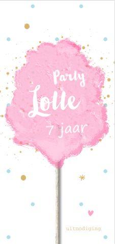 Unieke verjaardag uitnodiging voor een meisje. Met illustratie roze suikerspin, speelse spetters, hartjes, sterren en een houten stokje in pastel tinten! Gratis verzending in Nederland en België.