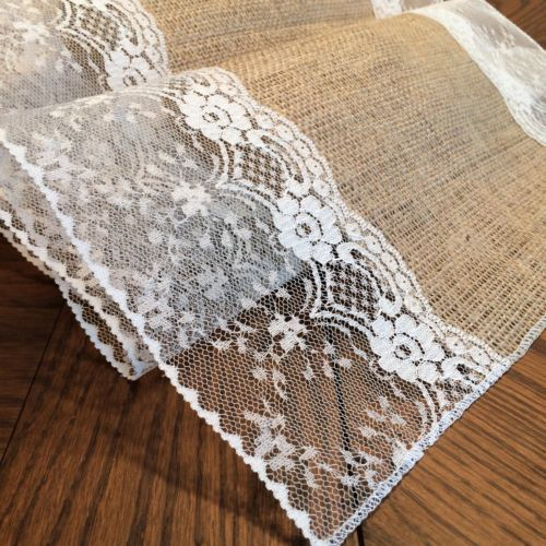 """Shabby Chic Burlap and Lace Table Runners with """"Eliza Grace"""" Style Lace 