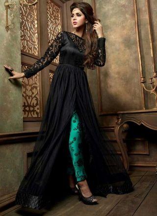 Genius Black Silk Georgette Designer Anarkali Suit http://www.angelnx.com/Salwar-Kameez