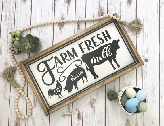 "Commitment Chicken Pig Bacon Eggs: X-large Rustic Farmhouse Style Kitchen Sign ""farm Fresh"