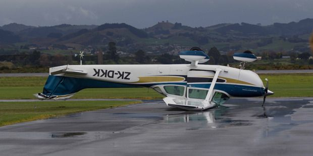 High winds in New Zealand have flipped a plane. Take a look: http://www.aviationcv.com/aviation-blog/2015/high-winds-in-new-zealand-have-flipped-a-plane