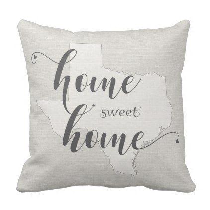 Texas - Home Sweet Home burlap-look Throw Pillow - home decor design art diy cyo custom
