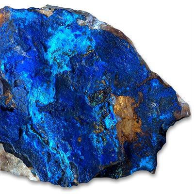 In ancient Egypt, azurite was associated with the studies and arts that improve mental disciplines. Ancient Egyptians used azurite for carving ornaments. Azurite was also one of the stones believed to have been used in the lost, mythical city of Atlantis.