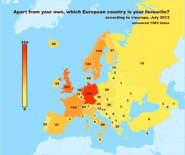 Les pays d'Europe vus par les Européens sur Reddit