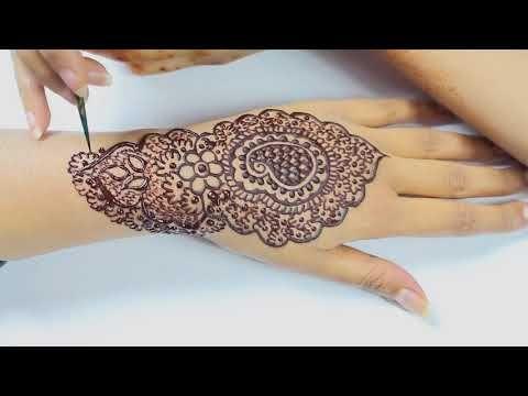 (187) Beautiful Indo/Arabic Henna Motive (Eid Diwali Karwachuth Mehndi Design) - YouTube
