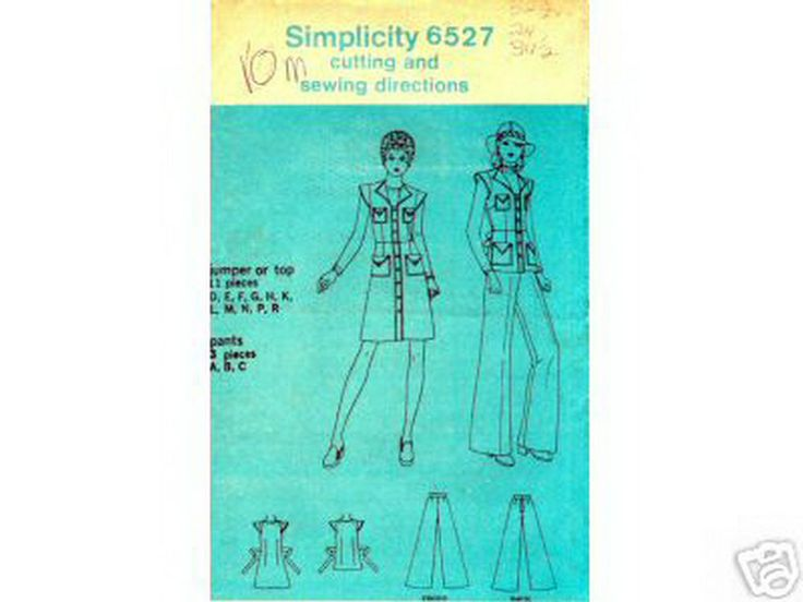 S6527 MilitarySafariDressJumper S10 4.99+4.99 new.above-knee Jumper/Dress winged cap slves,open pointed collar,buttonUp front,bust darts,fr.bust patch pockets w/pointed flaps,w.darts,fr.hip p.pockets w/p.flaps,back should.&full darts,&an attached TieBelt.TunicTop winged cap slves,open p.collar,buttonUp front,bust darts,front bust patch pockets w/p.flaps,w.darts,fr.hip patch pockets w/p.flaps,back should.&full darts,&an attach. tie belt.Pants slightly flared,darts into wstband,back…