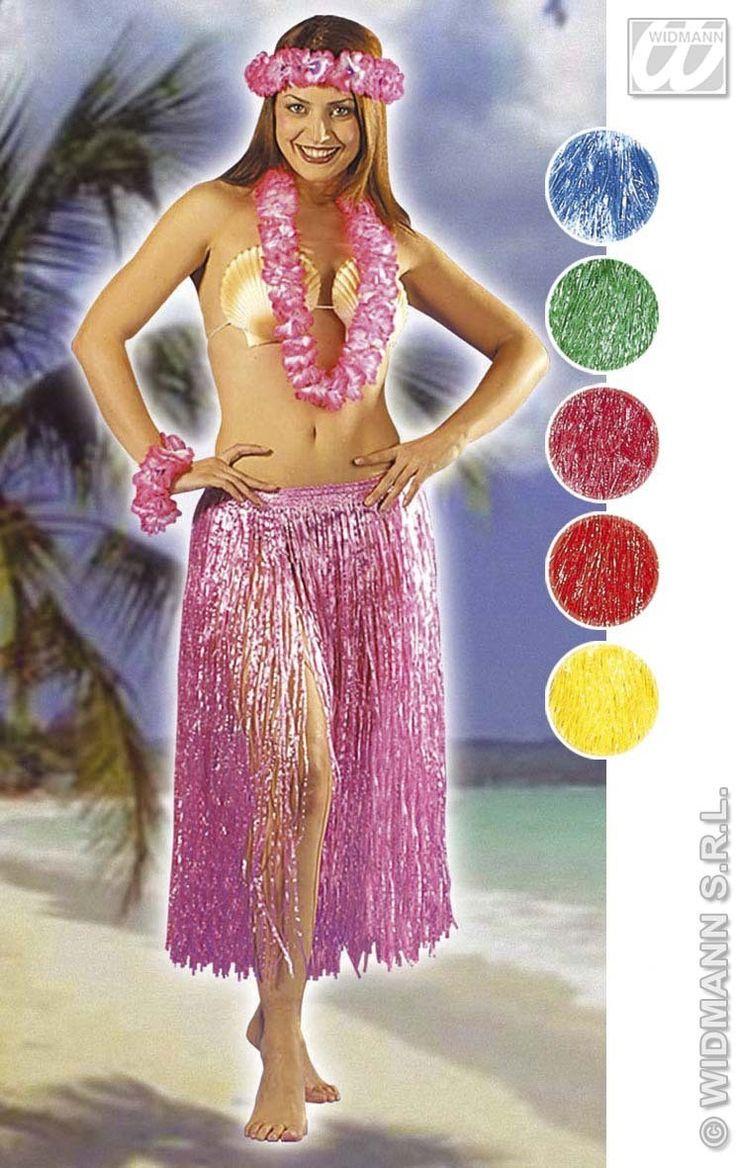 Hawaiian Skirt Coloured 75Cm Fancy Dress Costume (Hawaiian)