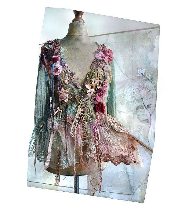 Kunst om te dragen van vrouwelijke zijde transparante jas BOUDOIR pop met bleke roze Kousenband Marie Antoinette Lingerie antieke modevak Fairy Boho