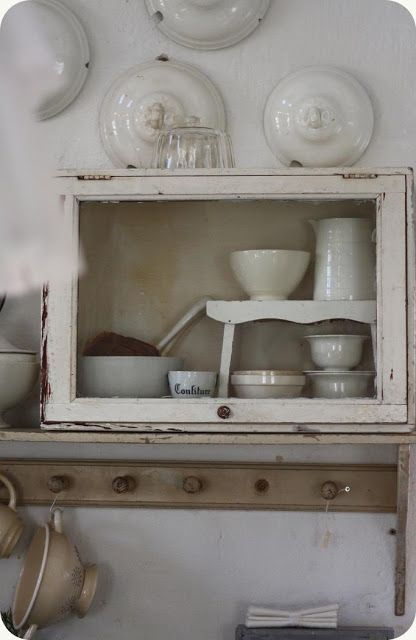 Bread Box as Wood Glass Display Whitewashed Cottage chippy shabby chic french country rustic swedish idea