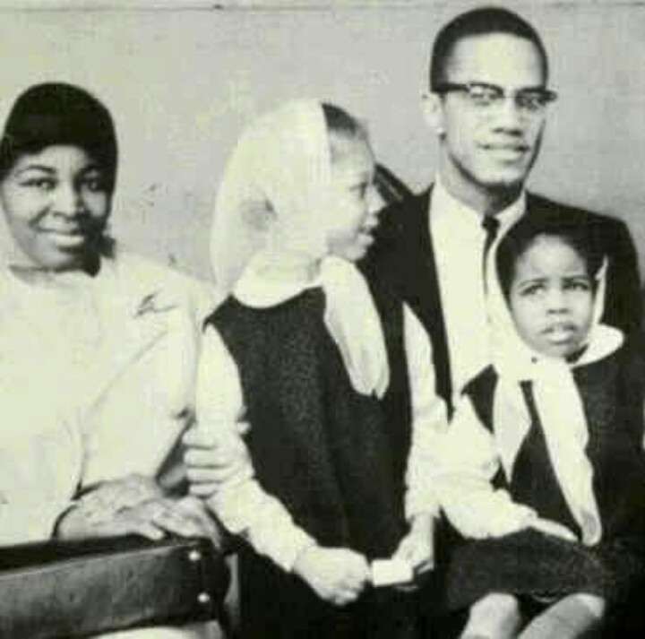 Mr. & Mrs. Malcolm Shabazz with daughters; Attallah Shabazz (born November 15, 1958) and Qubilah Shabazz (born December 25, 1960)